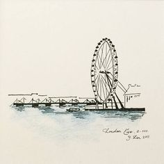 Uurban sketching - London Eye Landscape Pencil Drawings, Pencil Art Drawings, Realistic Drawings, Cute Drawings, Sketchbook Drawings, Art Sketches, Cityscape Drawing, Paris Illustration, Architecture Concept Drawings