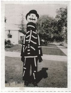 This is Tim Burton dressed in the costume his mother made him...it became the inspiration for Jack Skellington.