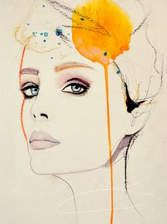 Orchid  Fashion Illustration Art Print by Leigh Viner