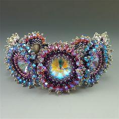 Crystal Burst bracelet kit, tanzanite, padparadcha & crystal AB