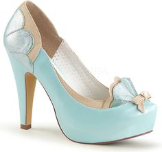 Pin Up Couture Shoes - BETTIE-20 B. Blue-Tan Faux Leather