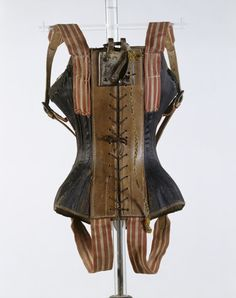 "Acrobatic flying corset c. 1861-1871, ""Corset worn by the 'flying dancer' Azella, who began performing as the first solo flying dancer in 1865."""