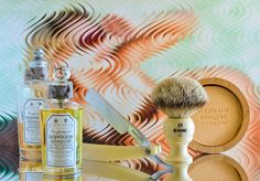 "Penhaligon's Blenheim Bouquet shave soap, aftershave and cologne, Kent badger brush, Hart Steel 5/8"" straight razor, March 29, 2017.  ©Sarimento1"