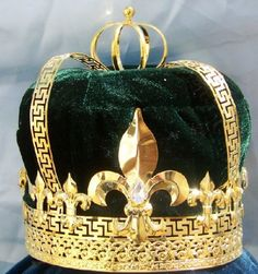 Imperial State Mens King Rhinestone Gold and Green Crown