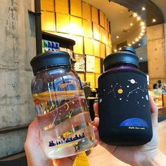 Kawaii Galaxy Sky Glass Bottle KS 1075 ml ●Material: Glass Cute Water Bottles, Glass Water Bottle, Glass Bottles, Drink Bottles, Glass Drinking Bottles, Plastic Bottle, Water Bottle Design, Copo Starbucks, Galaxy In A Bottle