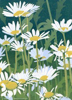 Brush and Baren: Linocut in Progress: Daisies in final bloom
