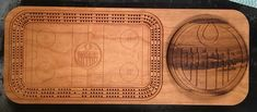 Oilers Hockey cribbage board with removable logo for card and peg storage. Custom Metal, Custom Art, Cribbage Board, Bamboo Cutting Board, Hockey, Logo, Storage, Cards, Diy