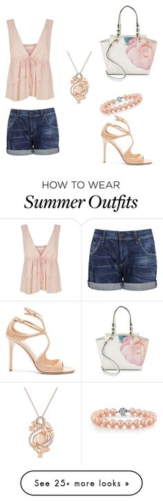 """Summer outfit "" by mrsagosto on Polyvore featuring Karl Lagerfeld, Citizens of Humanity, See by Chloé, Jimmy Choo and LE VIAN"