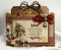 Vintage Inked Santa Tag...with jingle bell & embellishments...Anne's paper fun.