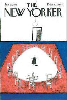 """Copertina - The New Yorker - 23 gennaio 1971 (Ronald Searle - """"On the Edge"""") The New Yorker, New Yorker Covers, Ronald Searle, Magazine Art, Magazine Covers, Transformers Art, Book Cover Art, Geek Art, Pulp Art"""