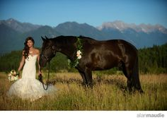 Bride with a horse in the Canadian Rockies.  Cherry Creek Estate, Cranbrook, B.C.