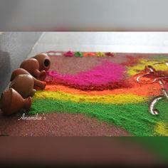 Rangoli Designs Latest, Colorful Rangoli Designs, Rangoli Designs Images, Beautiful Rangoli Designs, Diwali Diy, Diwali Rangoli, Diwali Decorations At Home, Festival Decorations, Krishna Birthday