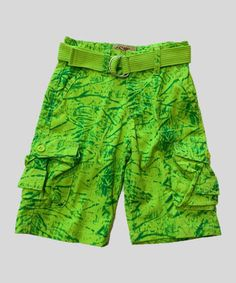 This Neon Green Tie-Dye Belted Cargo Shorts - Toddler & Boys by GS 115 is perfect! #zulilyfinds