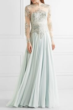 Zuhair Murad - Embellished Silk-blend Tulle And Georgette Gown - Sky blue - IT40