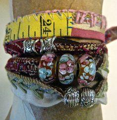 free shipping Boho wrap bracelet glass beads by pinkflamingo61, $75.00
