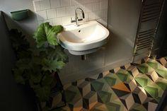 Encaustic tiles in bathroom.