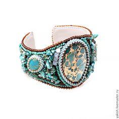 """Купить Комплект браслет и серьги """"Blue lagoon"""" - бирюзовый, голубой, комплект украшений, гарнитур"""