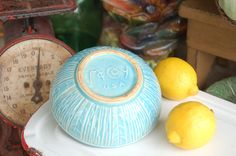 Vintage McCoy Aqua Patterned Bowl Planter by PatinaVille on Etsy, $32.00