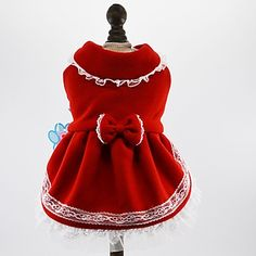 Cat+Dog+Dress+Dog+Clothes+Winter+Spring/Fall+Bowknot+Cute+Holiday+Fashion+Red+Blue+–+USD+$+13.99