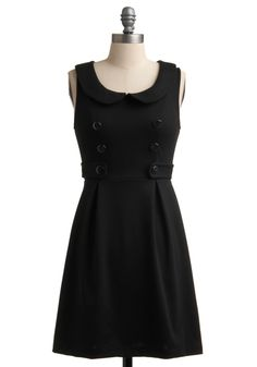 Darling Daycation Dress - Black, Solid, Buttons, Peter Pan Collar, Sleeveless, Casual, 60s, Exposed zipper, A-line, Short