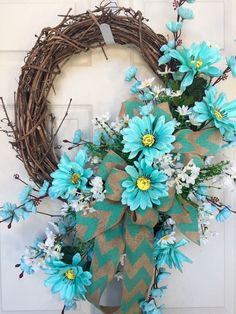 Aqua and Burlap Round Summer or Spring Grapevine Wreath by WilliamsFloral on…Shop for on Etsy, the place to express your creativity through the buying and selling of handmade and vintage goods. Diy Wreath, Grapevine Wreath, Burlap Wreath, Wreath Ideas, Swag Ideas, Wreaths For Front Door, Mesh Wreaths, Floral Wreaths, Easter Wreaths