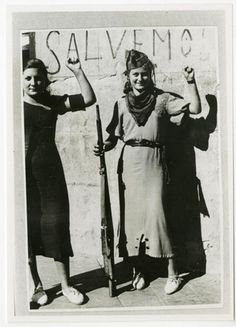 Anarchist militia women, Spanish Civil War [Fought from July 1936 – April 1939 between the Republicans, who were loyal to the democratic, left-leaning Second] Military Women, Military History, Military Art, World History, World War, Revolution, Kings & Queens, Spanish War, Mode Costume