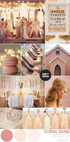 Beige, blush coral wedding color palette.