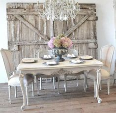 Just a simple sophisticated way to make you dining room different and stand out against the rest. Gorgeously shabby chic