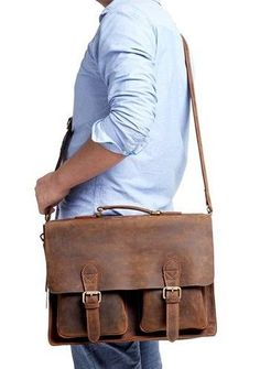 Handcrafted Full Grain Tan Brown Leather Mens Briefcase Business Handbag Laptop Bag