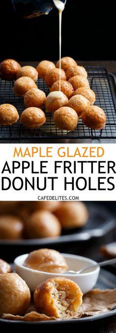 Maple Glazed Apple Fritter Donut Holes   http://cafedelites.com