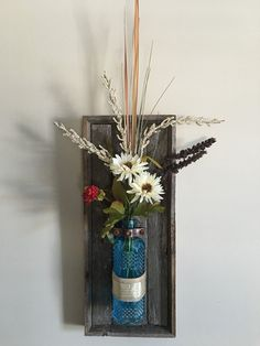 Rustic wooden wall sconce with bottle reclaimed by OnTheFenceShop
