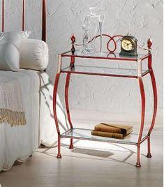 Comprar online Mesita de noche de estilo clásico en Forja modelo ALTAIR Bar Cart, Furniture, Home Decor, Templates, Iron Furniture, Wood Tables, Home Decorations, Glass Rack, Daily Cleaning