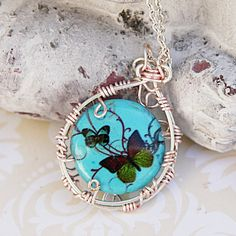 Butterfly Pendant Necklace, Butterflies Wire Wrapped Pendant, Animal Print Pendant