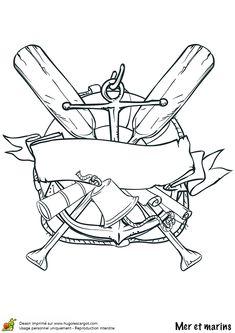 Dessin colorier du logo terrifiant d un ancien pirate pirate pinte - Dessin ancre bateau ...