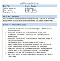 Senior Pastor Resume 13 Best Church Images On Pinterest  Job Description Organisation .