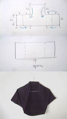 DIY Square Bolero Tutorial idea for bolero jacket for citrus interviewDIY Square Bolero Tutorial - for when I actually know how to sew!Easy pattern and sewing: bolero jacket / topLecture d'un message - mail Orange PlusShrug you sew Diy Clothing, Sewing Clothes, Clothing Patterns, Dress Patterns, Sewing Patterns, Sewing Hacks, Sewing Tutorials, Sewing Crafts, Sewing Projects