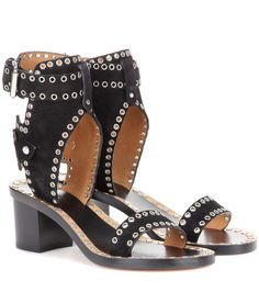 Jaeryn black embellished suede sandals