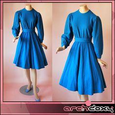 Vintage 1950s Electric Blue Wool Balloon Sleeve Rockabilly Swing Hepburn Dress #vintagedress  http://www.ebay.co.uk/itm/Vintage-1950s-Electric-Blue-Wool-Balloon-Sleeve-Rockabilly-Swing-Hepburn-Dress-8-/371618051175?ssPageName=STRK:MESE:IT