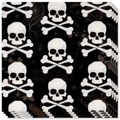 Halloween Dødningehoveder Servietter - Pakke med 16
