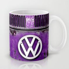 VW Retro Purple Mug. Available in 11 and 15 ounce sizes, featuring wrap-around art and large handles. Dishwasher and microwave safe. #mugs #coffee #blue #VW #Volkswagen #Camper #Bus #Retro #Purple