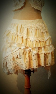 tattered layered mori girl morigirl natural The Adria Skirt by RavensNook on Etsy, £118.00