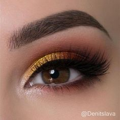 Quick tutorial on a warm eye makeup look with touch of yellow Hope you like it!, Make-up,, Quick tutorial on a warm eye makeup look with touch of yellow Hope you like it! Products used: ▫BH Cosmetics ultimate brow palette ▫ Eyerís Beaut. Makeup With Yellow Dress, Yellow Eye Makeup, Yellow Eyeshadow, Eyeshadow For Brown Eyes, Simple Eye Makeup, Natural Eye Makeup, Smokey Eye Makeup, Makeup For Brown Eyes, Natural Brows