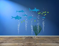 Fish Decal Reef Wall Decal Ocean Scene Wall Art Fishing Decal Bubble Wall Decal Nautical Theme Ocean Nursery Nautical Boys Room Decal  Great addition to your aquarium or deep sea themed wall.  Overall dimensions of design = 65H x 72W  Ocean Fish • Marlin 22, Shark 22, Grouper 22, (5) Medium Fish 6 to 11, (10) Small Fish Sea Grass • 22H x 18W 5 Bubble Columns • each one is 22H x 5-10 (each one is layed out as seen in 2nd photo - add included extra bubbles on top to finish the look - Very ...