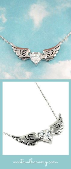 Dimonds Tattoo : Image Description winged heart necklace in sterling silver with a cubic zirconia crystal heart. Heart Shaped Necklace, Wing Necklace, Types Of Earrings, Heart Jewelry, Jewelry Rings, Jewellery, Heart With Wings, Necklace For Girlfriend, Luxury Jewelry
