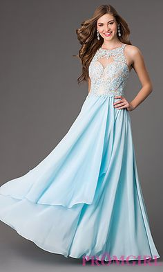 Floor Length Illusion Sweetheart Prom Dress with Lace Bodice at PromGirl.com