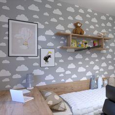 Dizajn, inšpirácie pre návrh detskej izby pre chlapca. Chlapčenská detská izba interiérový dizajn. Tapeta sivá do detskej izby