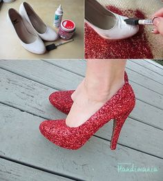 DIY Glitter Shoes crafts craft ideas easy crafts diy ideas diy crafts diy clothes easy diy fun diy diy shoes craft clothes craft fashion fashion diy craft shoes - ruby red slippers for halloween! Sparkly Shoes, Glitter Heels, Stiletto Heels, Red Glitter, Red Heels, High Heels, Glitter Party, Red Pumps, Upcycling