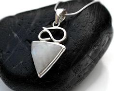 Rainbow Moonstone Pendant - Necklace - Sterling Silver Triangle Rainbow Moonstone Pendant -Gemstone Silver Pendant -925 Moonstone Jewelry