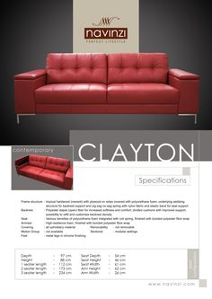 clayton Polyurethane Foam, Hardwood, Divider, Cushions, Sofa, Fabric, Furniture, Throw Pillows, Tejido