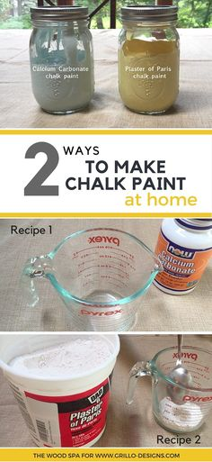 Patricia from the Wood Spa shares 2 ways to make Homemade Chalk Paint. The first with calcium carbonate and the second with Plaster… Diy Chalk Paint Recipe, Make Chalk Paint, Homemade Chalk Paint, Chalk Paint Projects, Chalk Paint Furniture, Paint Stain, Milk Paint, Chalky Paint, Paint Ideas